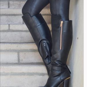 Aldo black/gold leather knee high boots